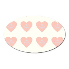 Cupcake White Pink Oval Magnet