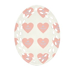 Cupcake White Pink Oval Filigree Ornament (two Sides)