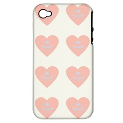 Cupcake White Pink Apple Iphone 4/4s Hardshell Case (pc+silicone)