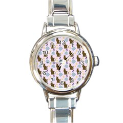 Outside Brown Cats Round Italian Charm Watch
