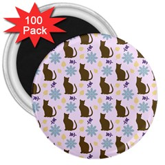 Outside Brown Cats 3  Magnets (100 Pack)