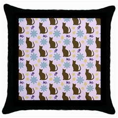 Outside Brown Cats Throw Pillow Case (black)