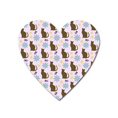 Outside Brown Cats Heart Magnet