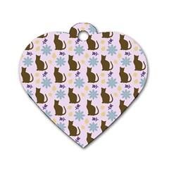 Outside Brown Cats Dog Tag Heart (two Sides)