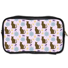 Outside Brown Cats Toiletries Bags 2 Side