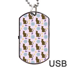 Outside Brown Cats Dog Tag Usb Flash (two Sides)