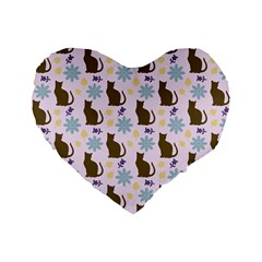 Outside Brown Cats Standard 16  Premium Heart Shape Cushions