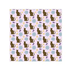 Outside Brown Cats Small Satin Scarf (square)