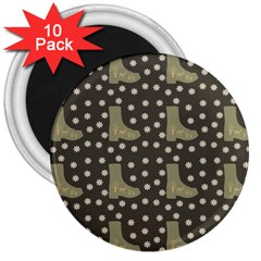 Charcoal Boots 3  Magnets (10 Pack)