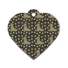 Charcoal Boots Dog Tag Heart (one Side)