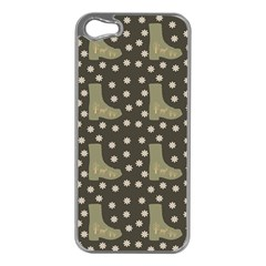 Charcoal Boots Apple Iphone 5 Case (silver)