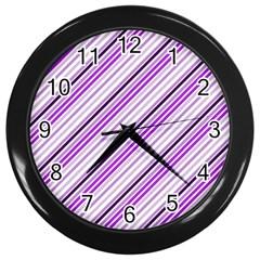 Purple Diagonal Lines Wall Clocks (black)