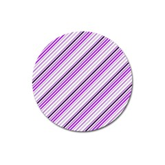 Purple Diagonal Lines Magnet 3  (round)