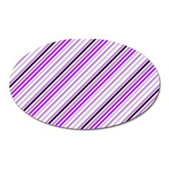Purple Diagonal Lines Oval Magnet