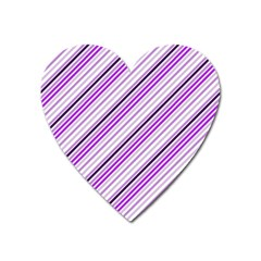 Purple Diagonal Lines Heart Magnet