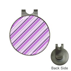 Purple Diagonal Lines Hat Clips With Golf Markers