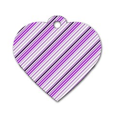 Purple Diagonal Lines Dog Tag Heart (two Sides)