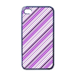 Purple Diagonal Lines Apple Iphone 4 Case (black)