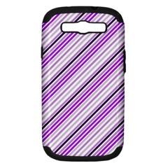 Purple Diagonal Lines Samsung Galaxy S Iii Hardshell Case (pc+silicone)