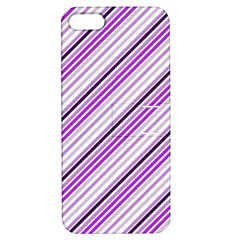 Purple Diagonal Lines Apple Iphone 5 Hardshell Case With Stand