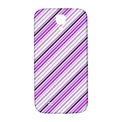 Purple Diagonal Lines Samsung Galaxy S4 I9500/i9505  Hardshell Back Case