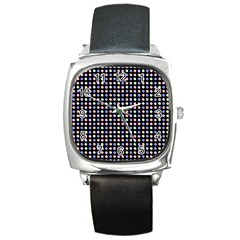 Blue Peach Green Eggs On Black Square Metal Watch