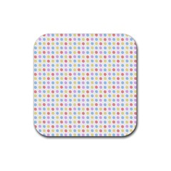 Blue Pink Yellow Eggs On White Rubber Square Coaster (4 Pack)