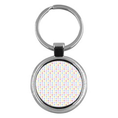 Blue Pink Yellow Eggs On White Key Chains (round)