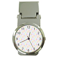 Blue Pink Yellow Eggs On White Money Clip Watches