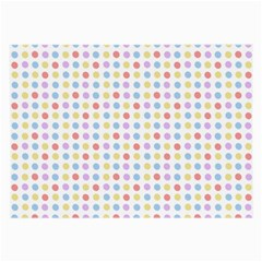 Blue Pink Yellow Eggs On White Large Glasses Cloth
