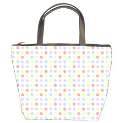 Blue Pink Yellow Eggs On White Bucket Bags