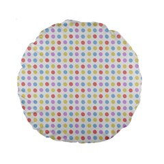 Blue Pink Yellow Eggs On White Standard 15  Premium Round Cushions