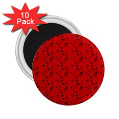 Red Music 2 25  Magnets (10 Pack)