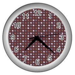 Grey Pink Lilac Brown Eggs On Brown Wall Clocks (silver)