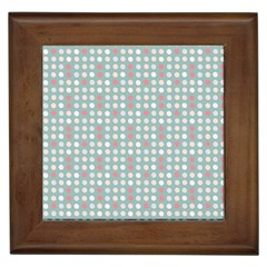 Pink Peach Grey Eggs On Teal Framed Tiles