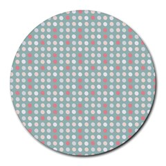 Pink Peach Grey Eggs On Teal Round Mousepads