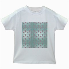Pink Peach Grey Eggs On Teal Kids White T Shirts