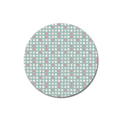Pink Peach Grey Eggs On Teal Magnet 3  (round)