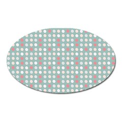 Pink Peach Grey Eggs On Teal Oval Magnet