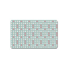 Pink Peach Grey Eggs On Teal Magnet (name Card)