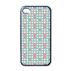 Pink Peach Grey Eggs On Teal Apple Iphone 4 Case (black)