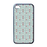 Pink Peach Grey Eggs On Teal Apple iPhone 4 Case (Black) Front