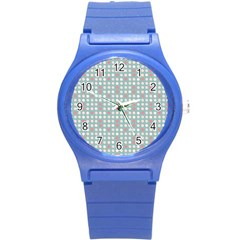 Pink Peach Grey Eggs On Teal Round Plastic Sport Watch (s)