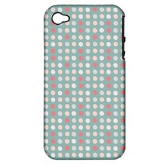 Pink Peach Grey Eggs On Teal Apple Iphone 4/4s Hardshell Case (pc+silicone)