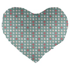 Pink Peach Grey Eggs On Teal Large 19  Premium Heart Shape Cushions