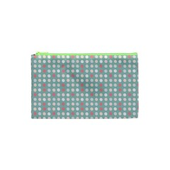Pink Peach Grey Eggs On Teal Cosmetic Bag (xs)