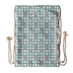 Pink Peach Grey Eggs On Teal Drawstring Bag (large)