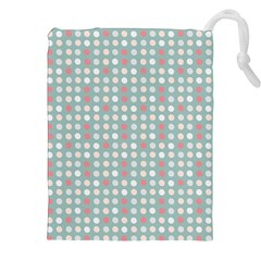 Pink Peach Grey Eggs On Teal Drawstring Pouches (xxl)