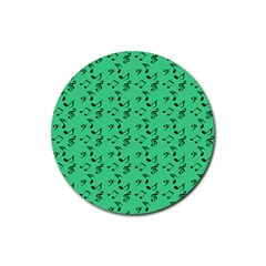 Green Music Rubber Coaster (round)