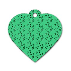 Green Music Dog Tag Heart (one Side)